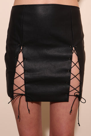 Fast Lane Leather Skirt