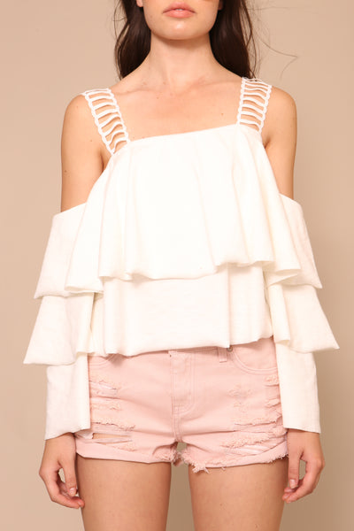 Lace Strap Detail Layered Knit Top by Moon River - FINAL SALE