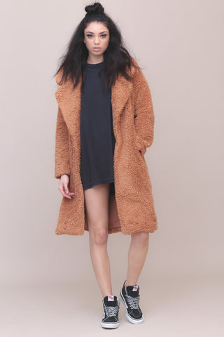 Long Violet Shag Coat by Tularosa
