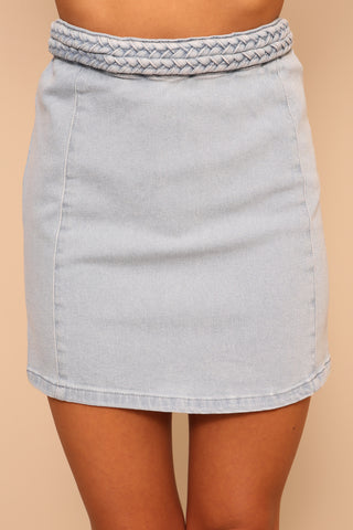 Double Dutch Braided Denim Skirt by Minkpink