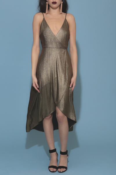 Struck Gold Wrap Dress - FINAL SALE