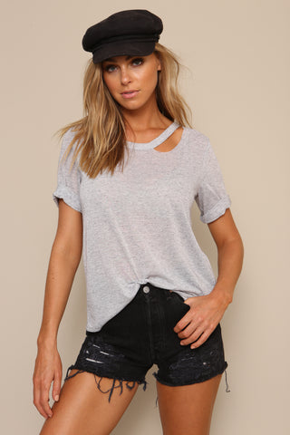 Split Neck Tee by Minkpink Cotton