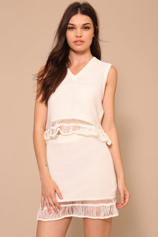 Knit Top And Skirt With Ruffle Set by Moon River