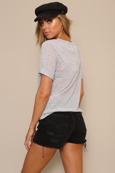 Split Neck Tee by Minkpink Cotton - FINAL SALE