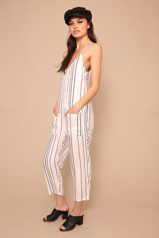 Stripe Button Up Jumpsuit by Minkpink