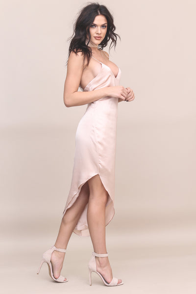 Champagne Toast Satin Dress - FINAL SALE
