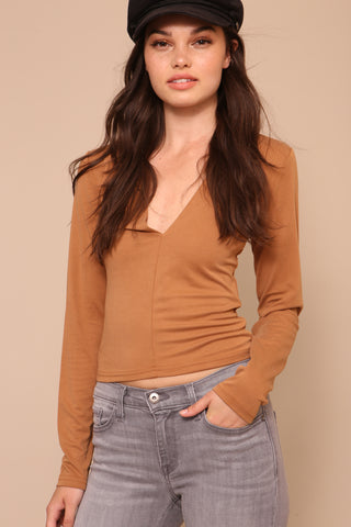 Brushed Modal Deep-V Top by Minkpink