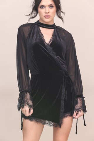 Dark Arts Velvet Romper- FINAL SALE