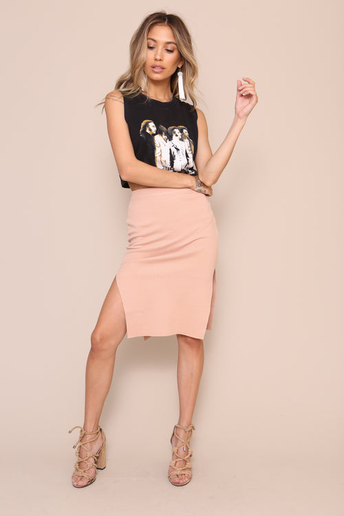 Knitted Pencil Skirt by Minkpink Cotton - FINAL SALE