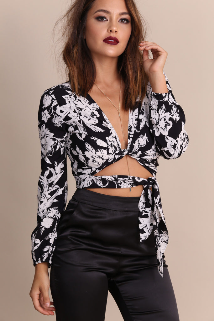 Long Sleeve That's A Wrap Crop Top by Flynn Skye