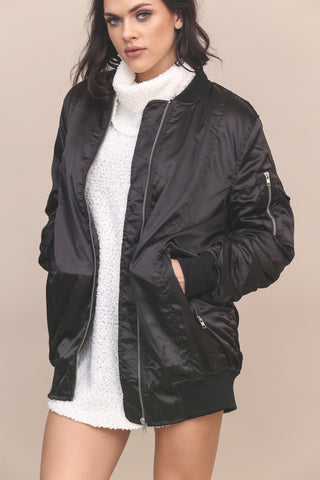 Tough Luck Longline Bomber Jacket- FINAL SALE