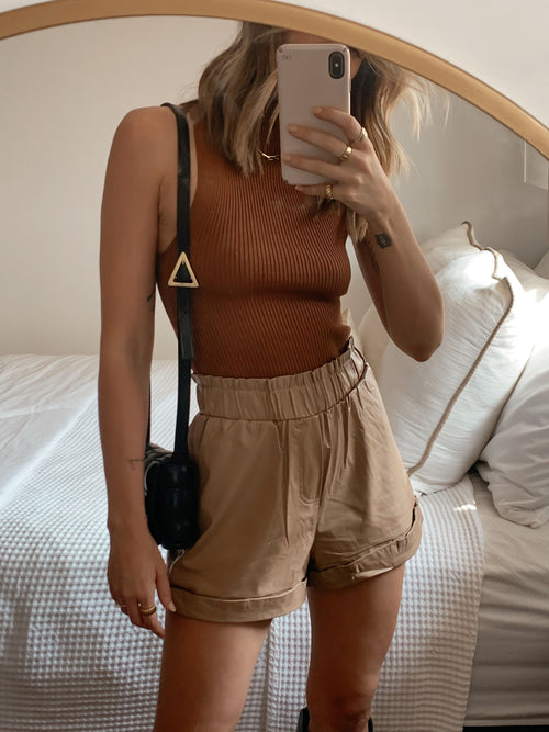 On The Move Leather Shorts