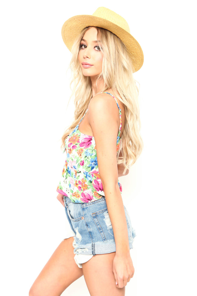 Floral Twisted Ivy Crop Top - FINAL SALE