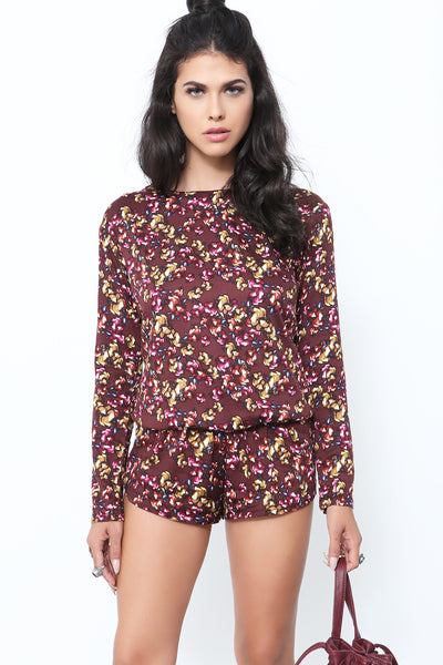 Crimson Floral Long Sleeve Romper by Beach Riot - FINAL SALE