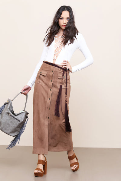 Savannah Vegan Suede Maxi Skirt - FINAL SALE