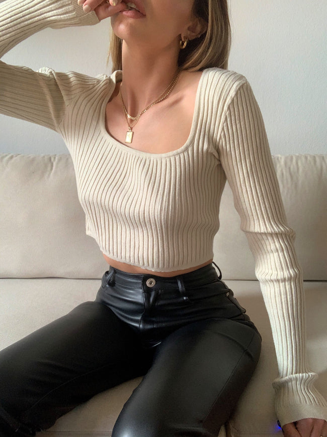 Hazelnut Crop Sweater