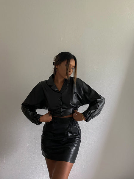 Automatic Crop Leather Jacket