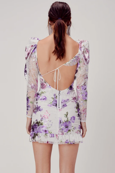 Wildflower Foil Lace Mini Dress by For Love & Lemons - FINAL SALE