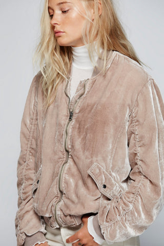 Ruched Velvet Bomber by Free People- FINAL SALE