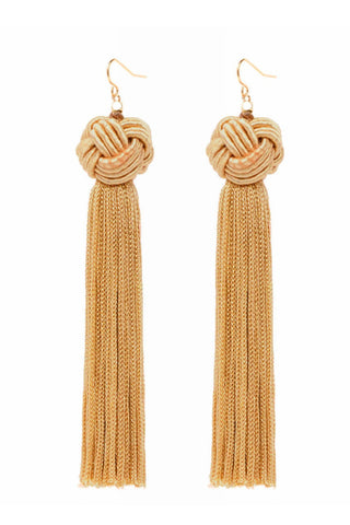 The Astrid Knotted Tassel Earrings by Vanessa Mooney