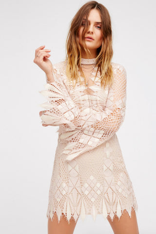 Deco Lace Mini Dress by Free People - FINAL SALE