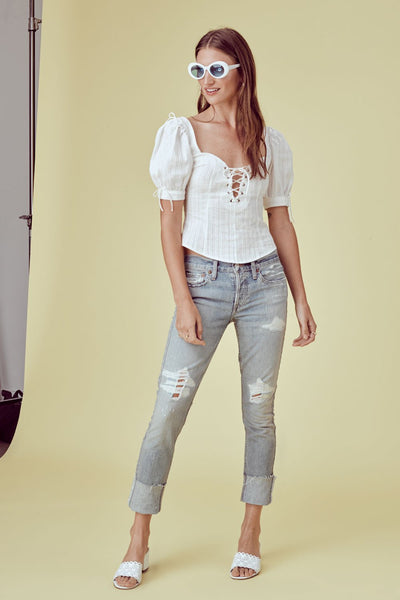 Anabelle Lace Up Blouse by For Love & Lemons