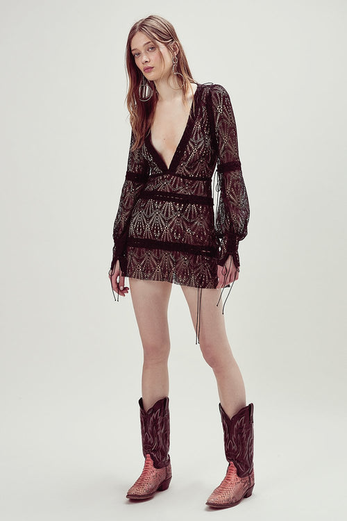 Bright Lights Long Sleeve Mini Dress by For Love & Lemons