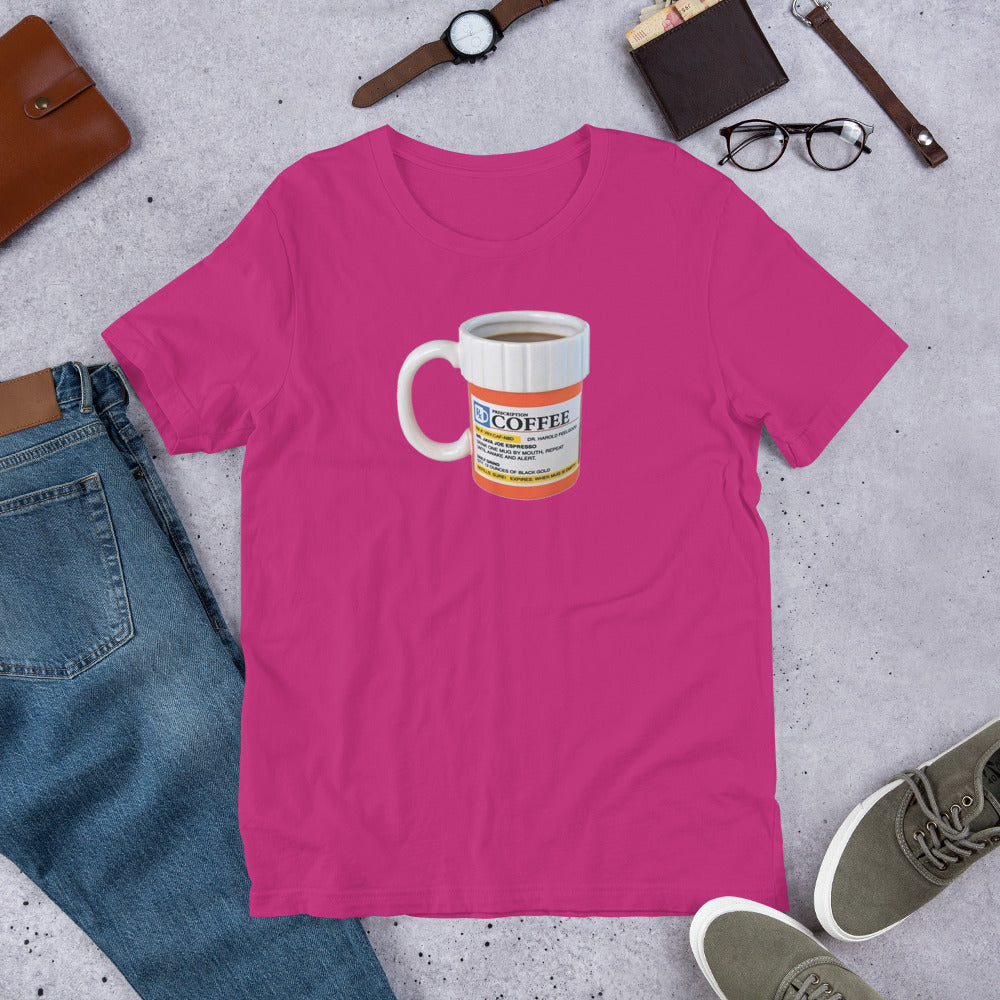 Prescription Coffee Short-Sleeve Unisex T-Shirt[product type] - Aroma Mocha Coffee, LLC of Avondale, Arizona