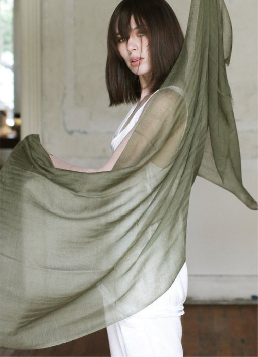 Cashmere Moss Ring Stole - Handspun & Handwoven - WAITING LIST
