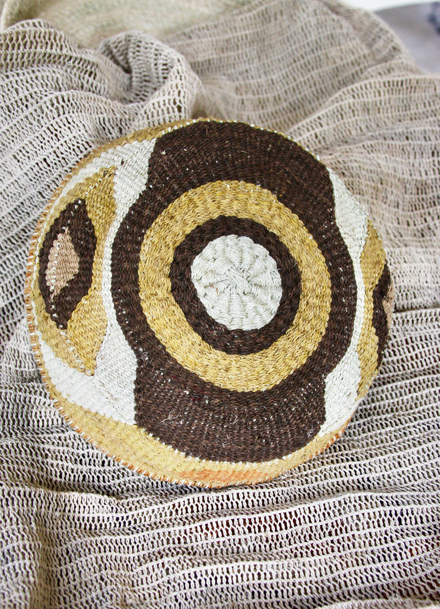Chaguar Art Basket - One of a Kind - Natural, Brown, White
