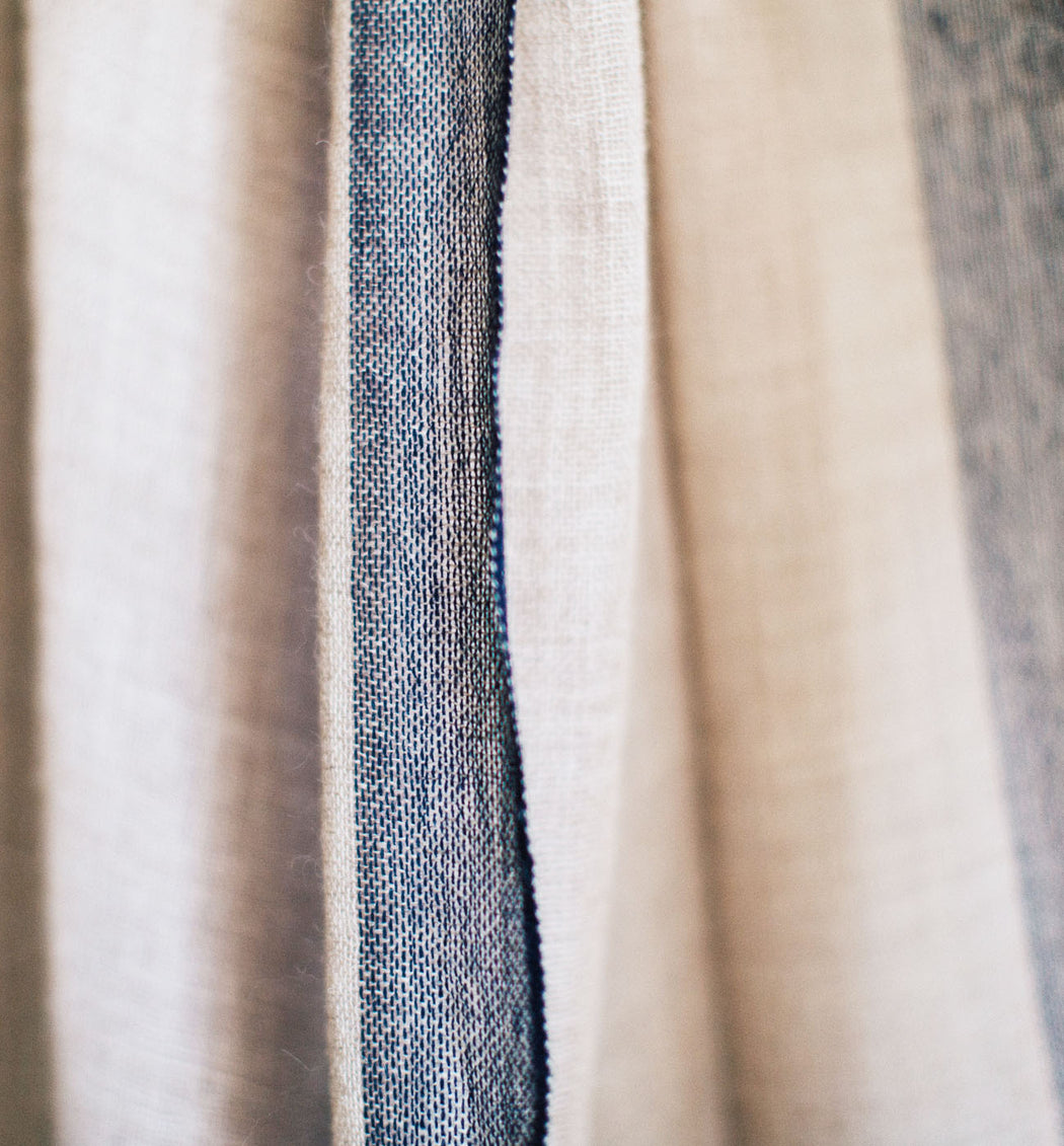 The Classic Alpaca Wrap with Navy Stripe - Handwoven