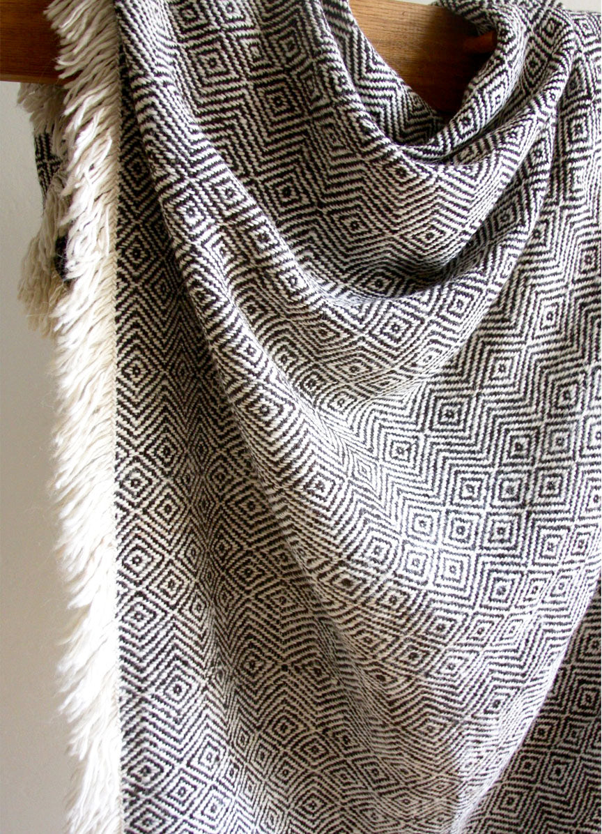 Diamond Llama Blanket  | Black + White | One of a kind