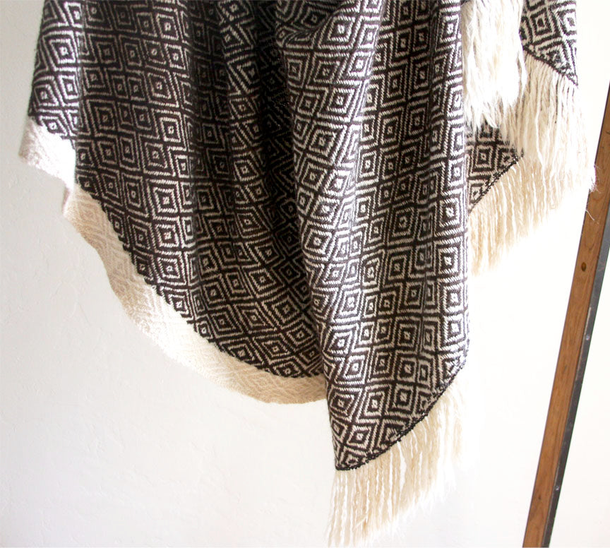 Diamond Llama Blanket  | Dark Brown + White | One of a kind