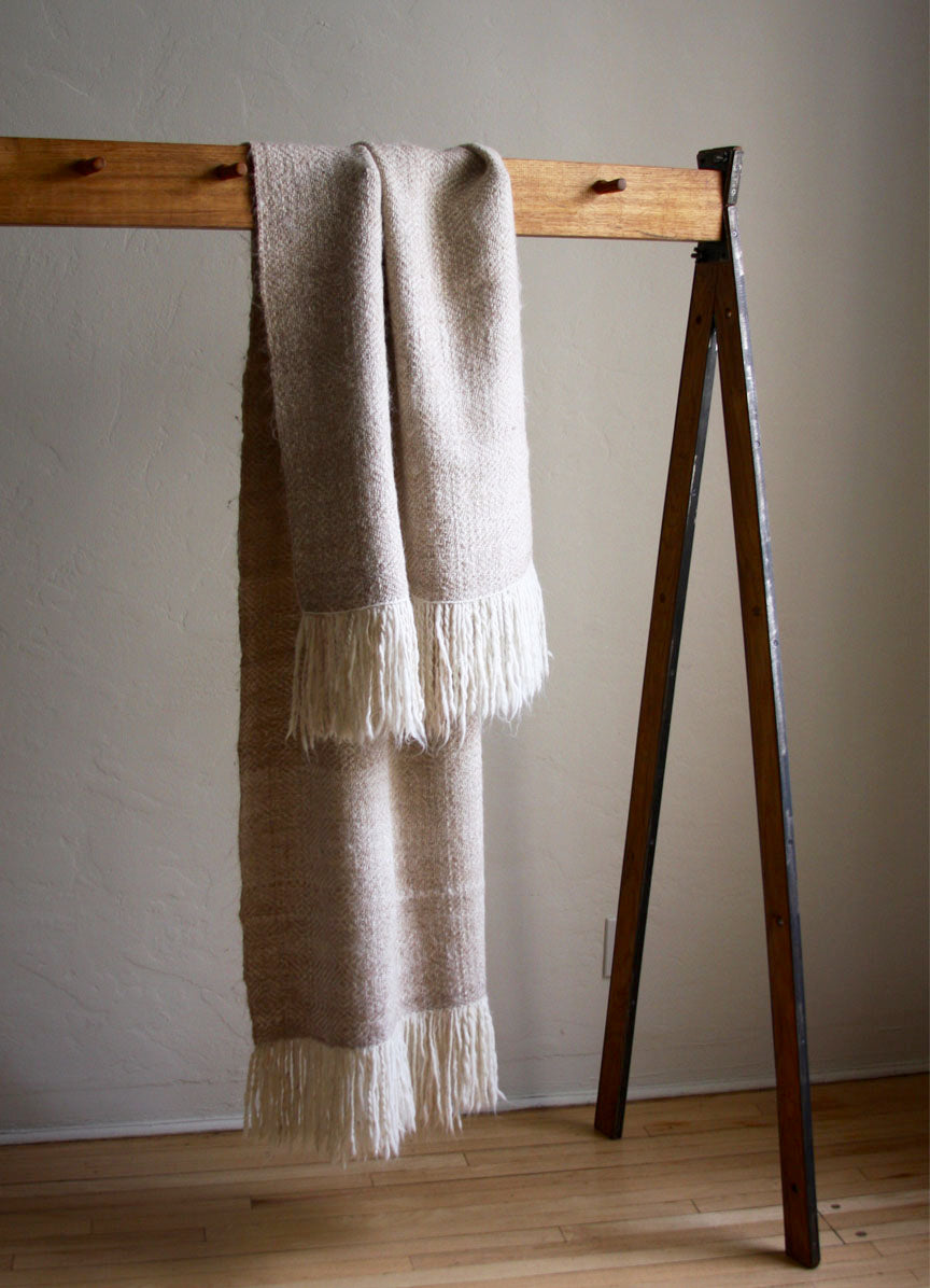 Diamond Llama Wrap Throw  | Cream + White | One of a kind
