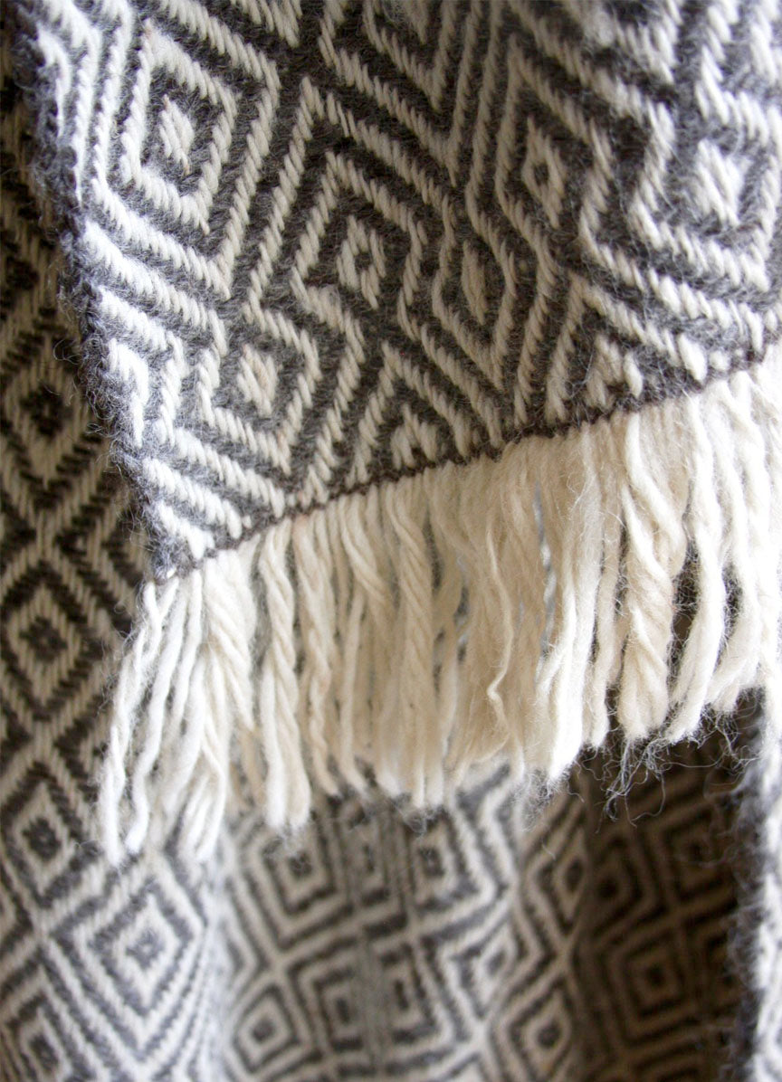 Diamond Llama Wrap Throw | Grey + White | One of a kind