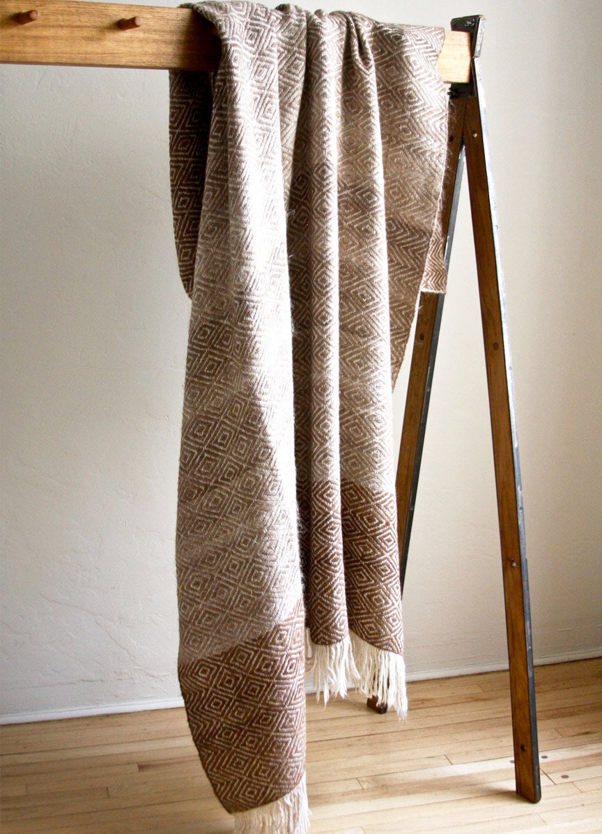 Diamond Llama Blanket  | Taupes + Browns | One of a kind