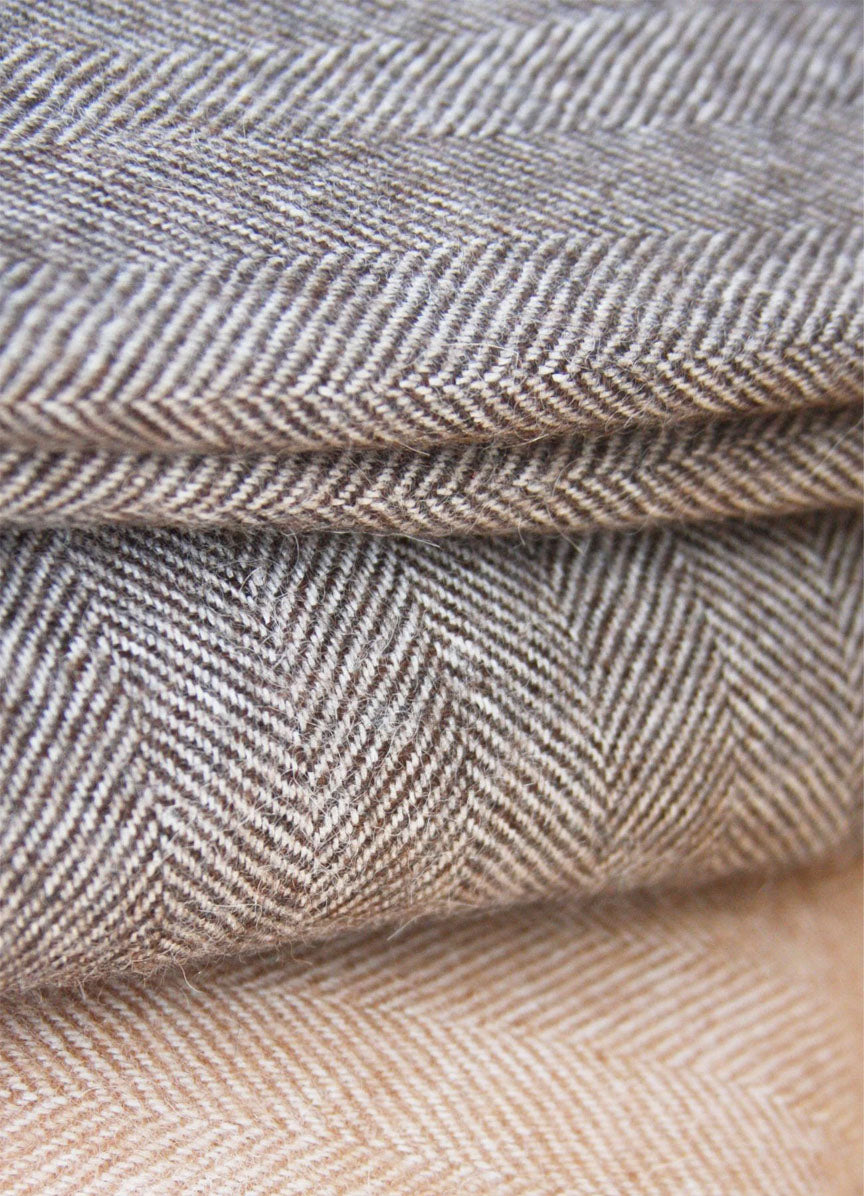 Herringbone Alpaca Blanket - Chocolate