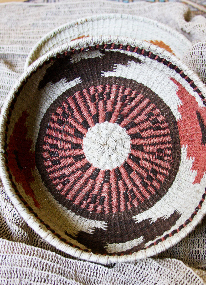 Chaguar Basket - One of a Kind - Dyed with Tree Bark- Natural with Reds & Browns