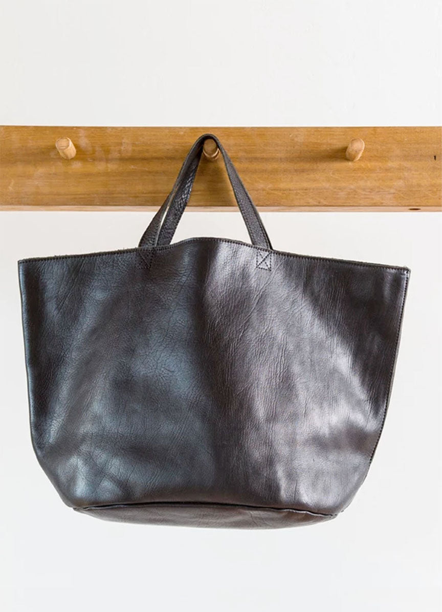 The Leather Shopper - Black
