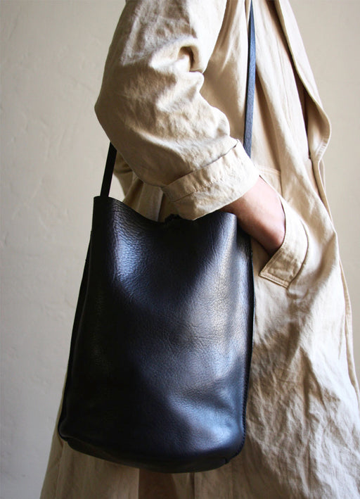Black Leather Crossbody Bucket Bag x Nuraxi
