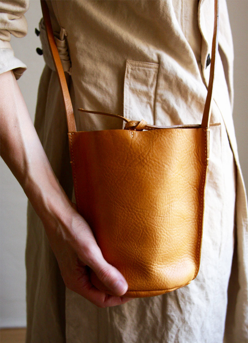 Nuraxi Leather Mini Bucket Bag. Vegetable Tanned Leather. Beautiful Patina.