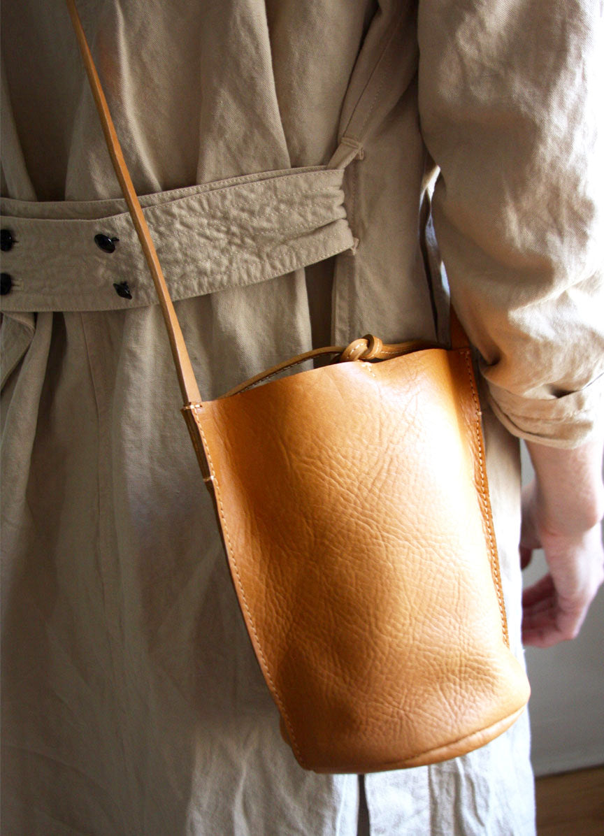 Mini Bucket Bag. Vegetable Tanned Leather. Will Patina.