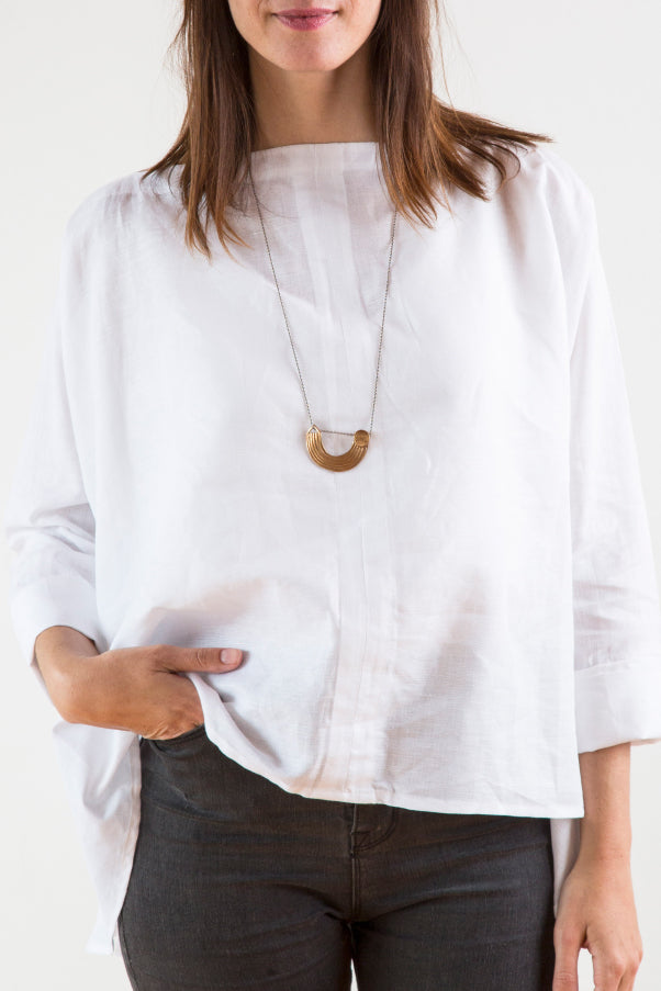 TWO WAY LINEN TUNIC JACKET- WHITE