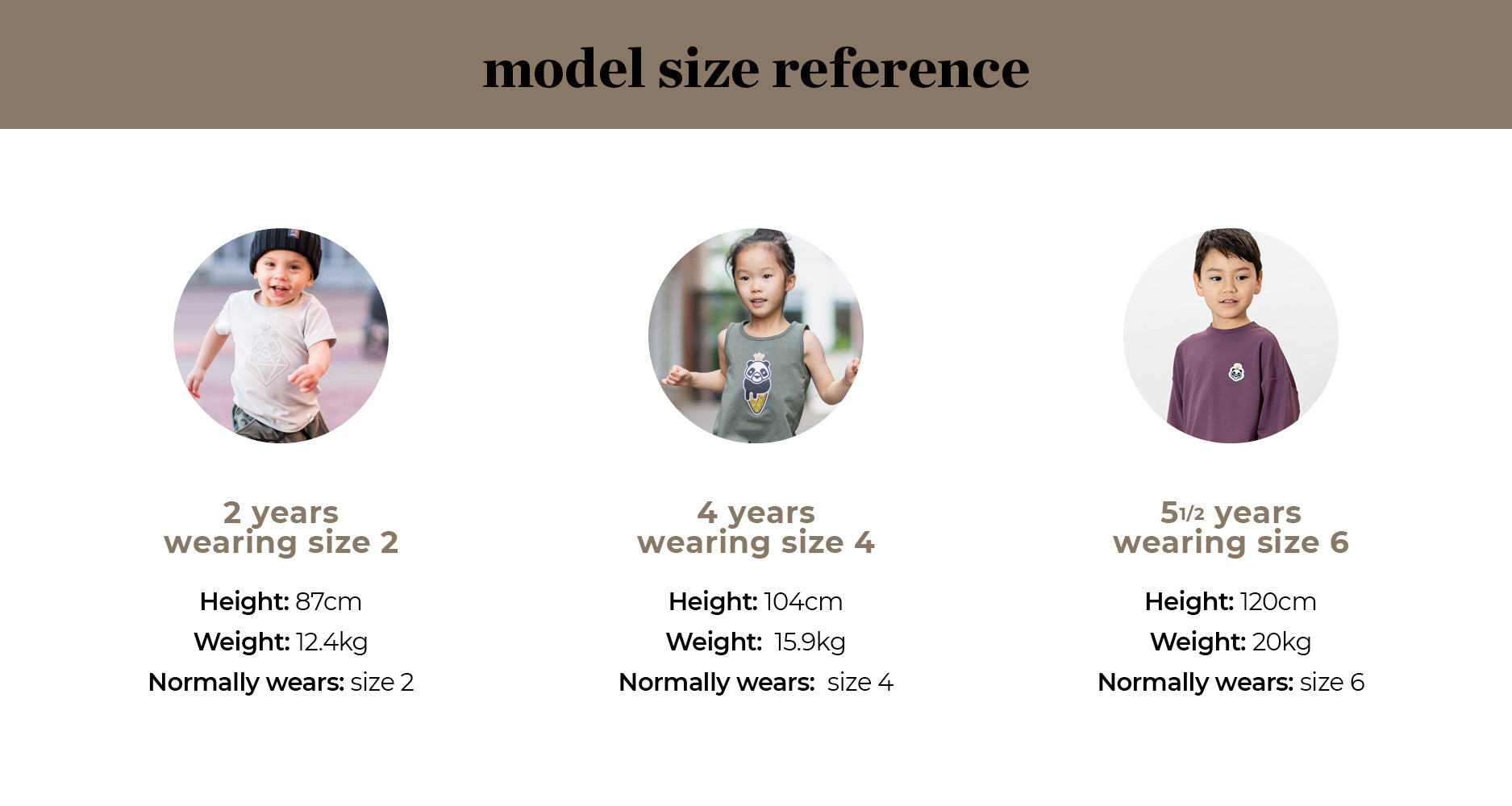 wkid children's clothing size reference