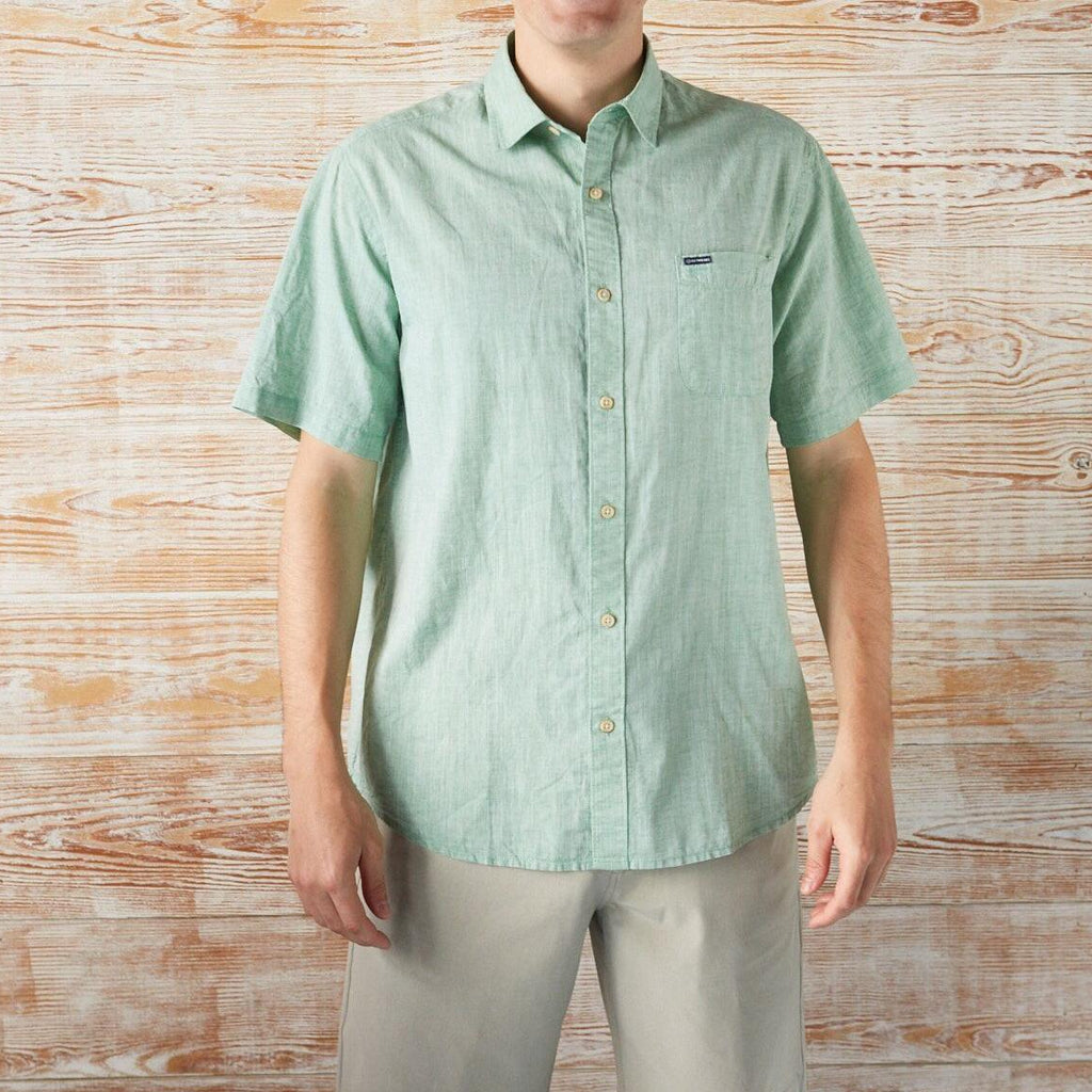 BUTTON-DOWN-FOR-ANYTHING COTTON/LINEN SHORT-SLEEVE SHIRT GREEN