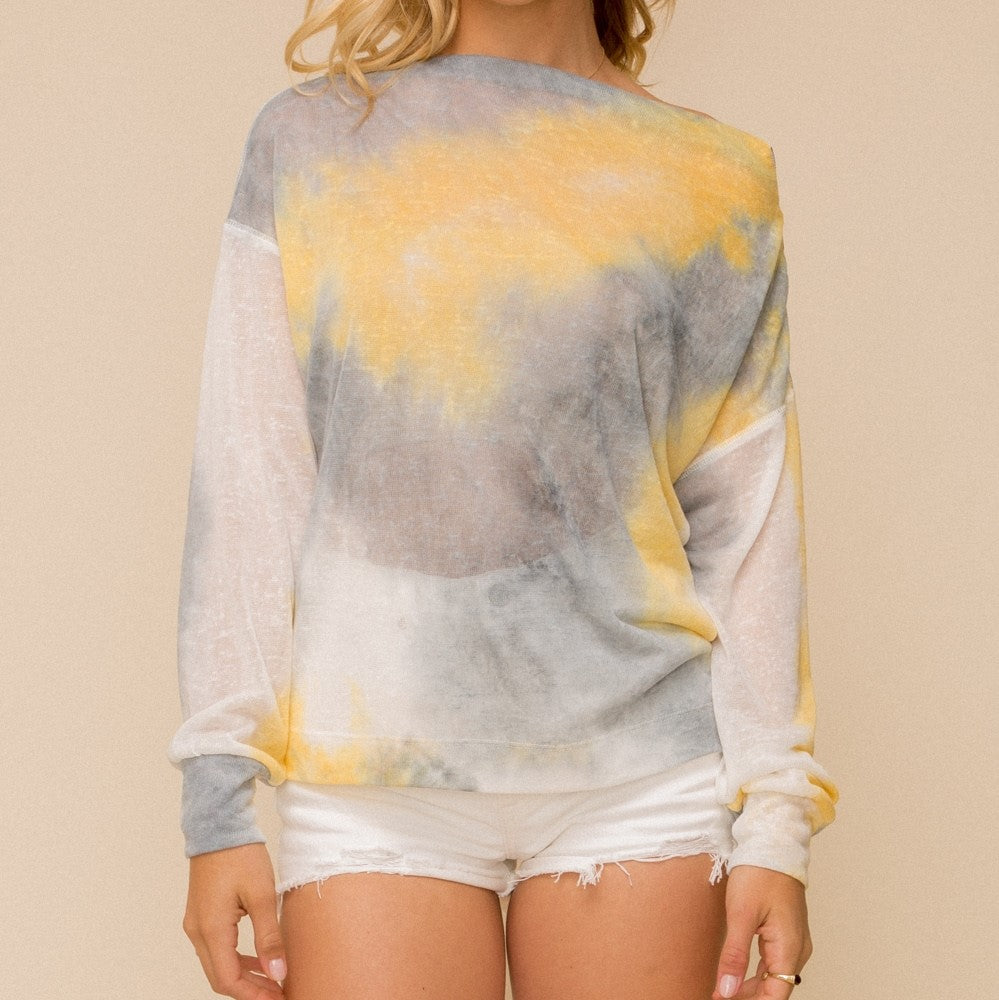 HALLIE'S BOAT NECK TIE DYE TOP