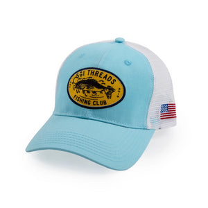 FISHING CLUB TRUCKER HAT TEAL BLUE