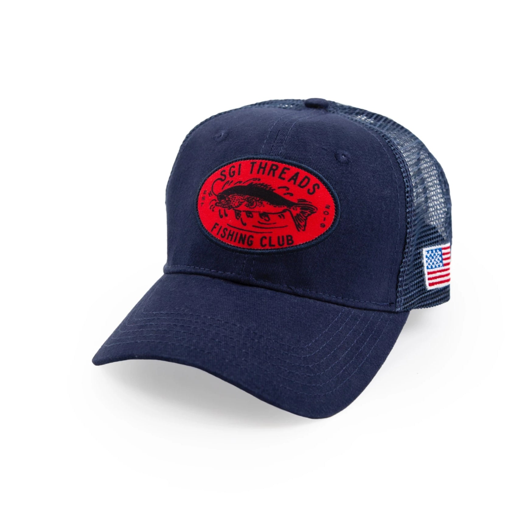 FISHING CLUB TRUCKER HAT NAVY/RED
