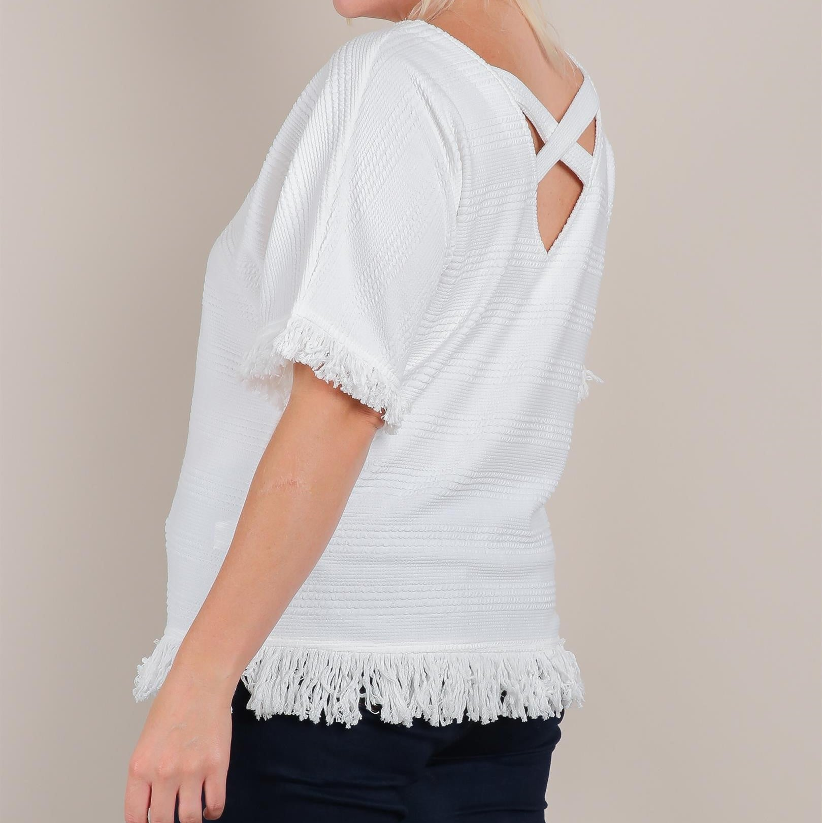 LACY'S TASSEL DETAIL OFF WHITE TOP