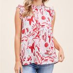 STACI'S RUFFLE HIGH NECK, RUFFLE CAP SLEEVE, FLORAL PRINT TOP